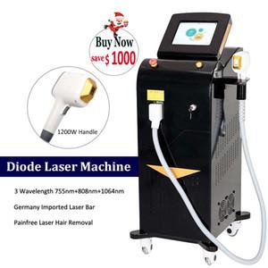 Máquina láser de diodo de 808 nm profesional 3 Longitud de onda 808nm 755nm 1064nm Trio Lazer Hairs Eliminación de pelos Alexandrite Depilación Equipo de diodo