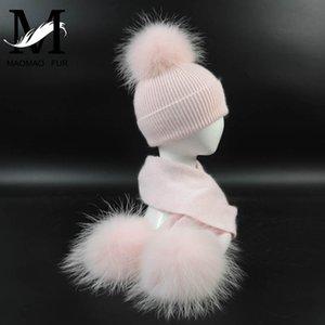 Neue Mode Kinder Wolle Strickmütze Schal 2 Stücke Set Winter Warme Kinder Baby Jungen Mädchen Waschbär Pelz Pom Poms Weiche Hutschals F1218