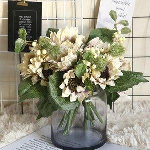 Artificial Sunflower Flower Bouquet Silk Real Touch Fake Flowers Wedding Decoration Floral Home Garden Party Supplies
