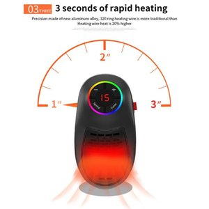 Smart Electric Heaters 7 Color LED Fast Heater Durable Personal Air Radiator Warmer Fan For Office Home Room Flame