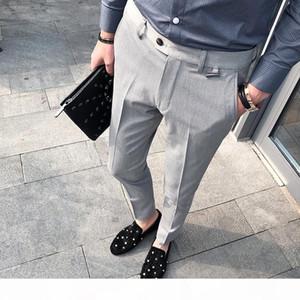 Business Casual Men Pant Slim Fit Men Dress Pants Office Men's Social Trousers Formal Work Pantalon Costume black grey