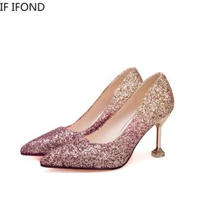 Se IFDD Spring Donne Pompe punta a punta Sexy Sexy European Wedding Sposa Crystal Shoes Bling Moda Tacchi alti femminili