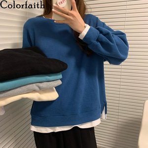 Colorfaith New 2020 Autumn Winter Women Sweatshirts Harajuku Pullovers Fake Two Pieces Split Oversized Korean Lady Tops SS3729