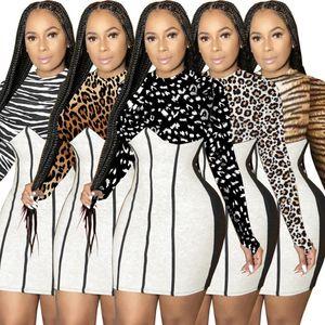 Designer Mulheres Vestidos Patchwork Leopard Imprimir Saia Médio Cintura Slim Envoltório Quadril Moda Sexy Casual Vestido 2020