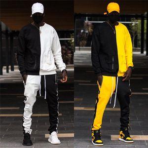 Оптом обычай осенью и зимний хип-хоп сшивание контрастный цвет пуловер свитер костюм мужской свитер и брюки из двух частей костюм