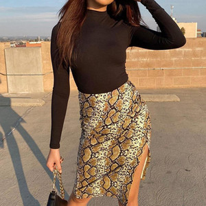 2021 Fashion Y2K Women's Sexy Snake Print Midi Slit Skirt High Waist Bodycon Bag Hip Skirts Jupe Gothic Aesthetic Clothes