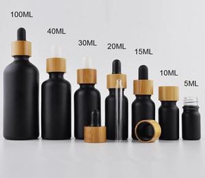 10ml 15 ml de bouteille de goutte-gouttes en verre noir de verre noir de bambou Top Pipette Essential Huile Essential Perfume Vape Verre Bouteille