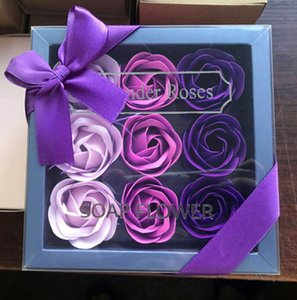 Valentine Day Rose Gift 9 Pcs Soap Flower Rose Box Wedding Mother Day Birthday Day Artificial Soap Rose Flower GGE3829-1