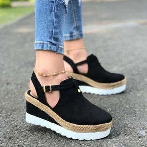 Hot sale-Sandals Women's Wedges Platform Ladies Ankle Buckle Strap Female Slingbacks Non Slip Woman Shoes Summer Plus Size
