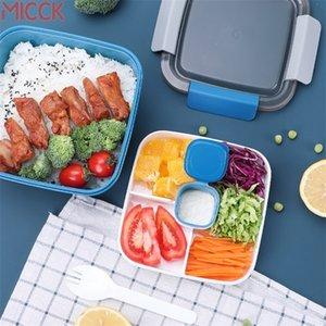 Micck Isıtmalı Öğle Yemeği Kutusu Çocuklar için Okul KompartmanıStableware ile Mutfak Gıda Konteyner Mikrodalgeli Bento Kutusu Japon Tarzı 201209