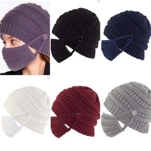 2020 Yeni Kış Şapka Avrupa ve Amerikan Örme Şapka Düğmeler Yüz Maskeleri Gelebilir Örme Büküm Şapka Maskeleri 2 Takım