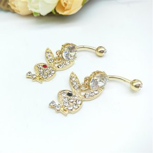 500pcs sexy bar Bunny Gold Plated Dangle Belly Button Navel Rings Body Piercing Jewelry