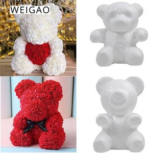 Weigao Foam Rose Bear Stampo ARTIFICIALE ROSA ANTIFICATO A FLOWER Orso per DA TE Valentines Decorazione regalo 16/20 cm Dolls Decorazione della festa di nozze1