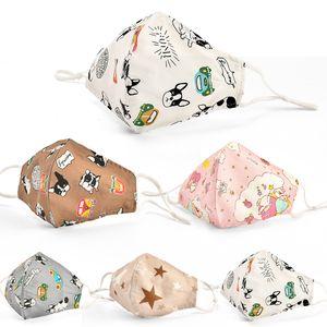 Designer enfants enfants dessin animé coton tissu pm2.5 lavable anti-haze masque masque anti-poussière masque non tissé masques de coton coloré