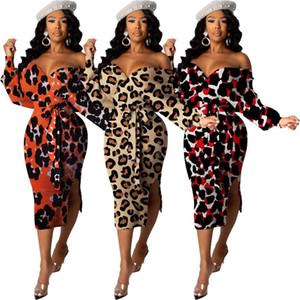 여성 의류 표범 인쇄 Womens Dresses 섹시한 긴 소매 v 목 뒤 까다로운 분할 밴지 드레스 패션