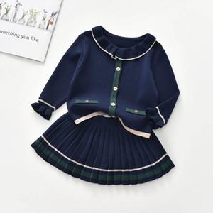 INS fashion sweater girls suits princess knitting sweater+Pleated skirts 2pcs set girls outfits kids dress suits kids clothing B3432
