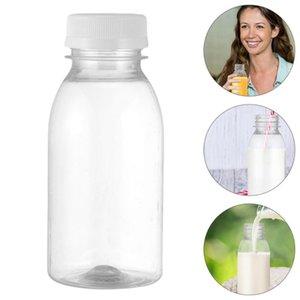 12Pcs 250ML Transparent Plastic Milk Storage Bottles Beverage Drinking Bottles