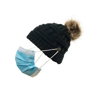 New Popular 8 Colors Handmade Womens Winter Knitted Detachable Wool Ball Hat Wear Mask Button Caps for Sale