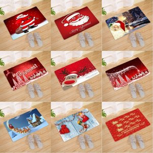 Christmas Deer Doormat Entrance Santa Claus Tree Snowman Carpet Rugs Anti-slip Flannel Bathmat Kitchen Floor Mat 40*60cm