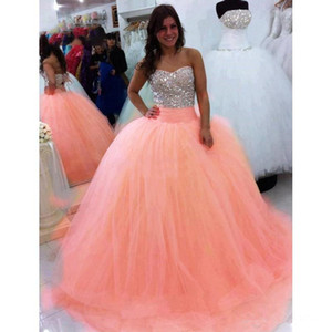 Luxury 2021 Cheap Sparkly Coral Sequins Quinceanera Dresses Ball Gown Puffy Tulle Prom Debutante Sweet 16 Dress vestidos de 15 anos