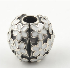 Silver Darling Daisy Meadow Clip Charm Bead with White Enamel Fits European Pandora Jewelry Bracelets & Necklaces ps2045