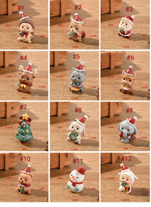 Resina Christmas Família Pequena Decoração Animal Criativo Decoração Casa Mini Árvore de Natal Antigo Presente de Natal