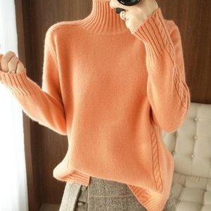 2021Nuevo 100% de suéter de lana de cuello alto Cuello de las mujeres Camisa de punto Top Top Tamaño grande Jersey Otoño Invierno Cashmere Grueso Ropa de todo partido