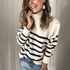 New Autumn Winter Turtleneck Knitted Sweater Women Casual Rivets Striped Pullovers Sweater Female Office Lady 201120