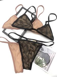 Lettres Dentelle Lingerie Set Femmes Tulle Sexy Tulle Split Bikinis Tide Cosy Sous-vêtements respirant Soutien-gorge Mode Beach Spa Maillot de bain