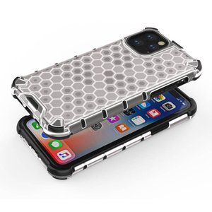 Coque de téléphone Hybrid TPU et PC Armor pour iPhone 11 Pro Max 11 PRO Honeycombe Case Clear Clear Clear Boîte pour iPhone XS MAX XR XS X 7 8 Plus