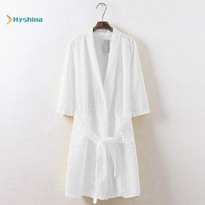 Summer Thin Waffle Bathrobe Cotton Nightgown Beauty Salon Sweat Suit Beauty Salon Bathrobe