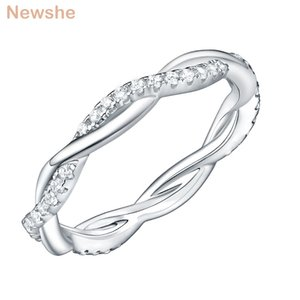 Newshe 925 Sterling Silver Wedding Engagement Ring For Women Twist Rope Wave Design Curve Band Trendy Jewelry CZ Jewelry Gift Z1117 Z1119