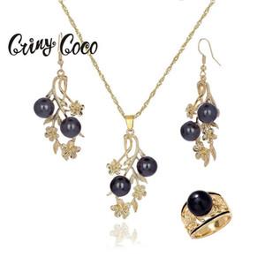 CRING COCO мода жемчужное ожерелье набор Hawaii дамы золотые сплава Plumeria цветы кольцевые серьги серьги ювелирных изделий для женщин вечеринки 201215