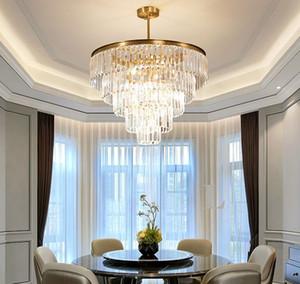 Moderno Top Luxury Clear Crystal Chandelier Illuminazione rotonda Gold Hotel Lobby Lampadari per soggiorno LED Light Light Assure
