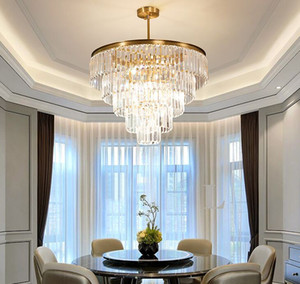 Modern top Luxo Clear Crystal Chandelier Iluminação Rodada Hotel Lobby Lobby Candelabros Para Sala de estar Levados Luz Interior Luminárias