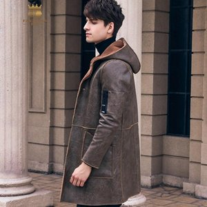 FANZHUAN Free Shipping New 2020 male Men's man LONG thick warm plus velvet brown coat hooded slim PU leather jacket 820054