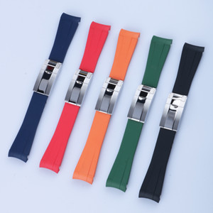 Bande de montre d'extrémité courbée de 20 mm et fermoir argenté en silicone noir bleu marine orange orange rouge de caoutchouc de caoutchouc pour rol STRAP SUB GMT Date Master