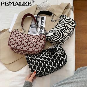 Retro kadın çanta M kelime zebra beguette zarif kontrast renk PU deri omuz çantaları tasarımcı zincir kayışı crossbody tote Q1208
