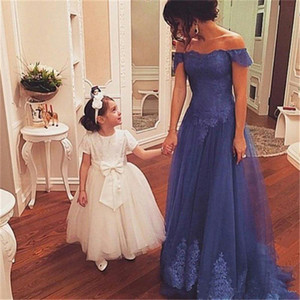 2018 Mother of the Bride Dresses Off Shoulder Lace Applique Prom Dresses Long Tulle A Line Wedding Party Evening Gowns Cheap