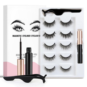 5 Pairs Of 3D Magnetic Eyeliner Liquid False Eyelashes Set Magnet Eyelashes Waterproof Not Stain Long-lasting Eye Makeup TSLM2