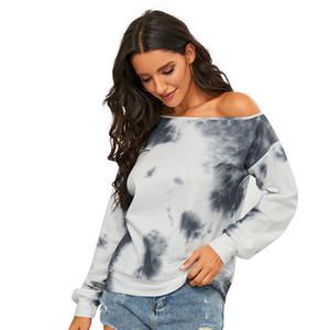 Kadın Tasarımcı Giyim Kadın Tops Kravat Boya Uzun Kollu Omuzlar Sweatershirt Kazak Sonbahar Kış Moda Rahat Kazak CZ111605