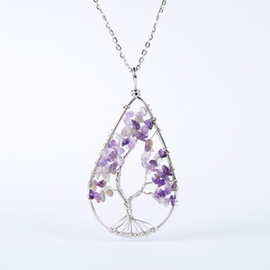 New Silver Color Crystal Natural Stone Tree Of Life Pendant Necklaces Wire Water Dropped Metal Chain Necklace For Women Female