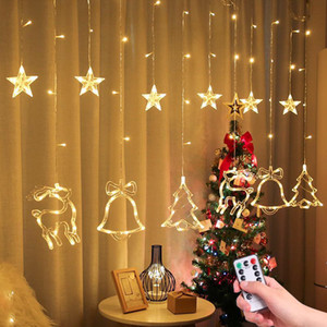 2.5M LED Christmas Deer Tree Bells Star String Fairy Lights Curtain Light Outdoor Garland For Home Party New Year Wedding Decor Q1127 Q1128