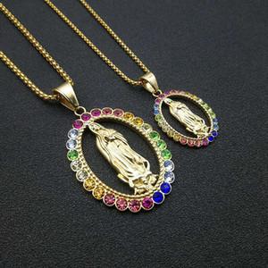 Paslanmaz Çelik Altın Bakire Mary Madonna Kolye Kolye Hip Hop Katolik Guadalupe Din Kolye Moda Renkli Rhinestones ile