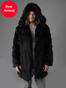 겨울 남성 가짜 여우 코트 두꺼운 긴 소매 따뜻한 후드 럭셔리 모피 재킷 검은 파카 Black Parkas Bontjas Mens Furry Shaggy 겉옷