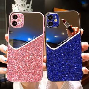 Acrylgeometrie Glitter Phone Case mit Schutzrückspiegeldeckel für iPhone 12 11 Por Max XS XR 7/8 Plus