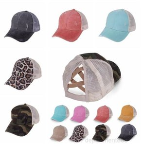 Ponytail Baseball Cap Leopard Printing Messy Bun Hats Women Washed Solid Snapback Caps Casual Summer Sun Visor Outdoor Sport Hat OWC3689