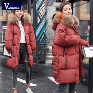 Vangull Loose Warm Winter Jackets Coats Women Hooded Fur Coat Down Parkas Long Cotton Padded Jacket Casual Female Outwear 201125