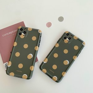 Fashion Green Wave Point Case for iPhone 12mini 11 Pro Xs Max SE2 XR 7 8Plus TPU Soft Cute Girl Protective Back Cover