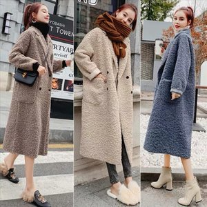 Luck A Cashmere Coat Parka Female Sheep Sheared Jacket Long Female Fur Coat Lamb Hair Autumn Warm Plus Size Women